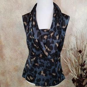 Ann Taylor Blue Black Tan Leopard Print - Blouse